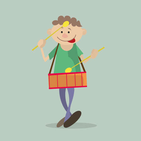 Boy marching with a drum. vector illustration. Character Illustration