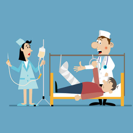Doctor and nurse at the bedside. preparing to install the dropper. vector illustration. Character