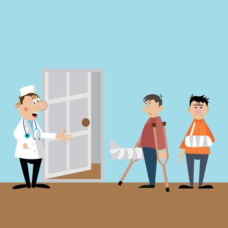 Patiënten bij de receptie naar de dokter. de arts de traumatoloog accepteert bezoekers. vectorillustratie