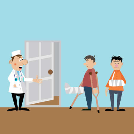 Patients on reception to the doctor. the doctor the traumatologist accepts visitors. vector illustration