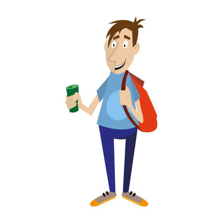 Young man holds in his hand a bottle of drink. vector illustration, character Illustration
