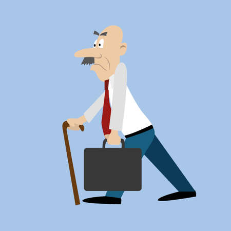 An old man with a moustache and a suitcase walks quickly. vector illustration Illustration