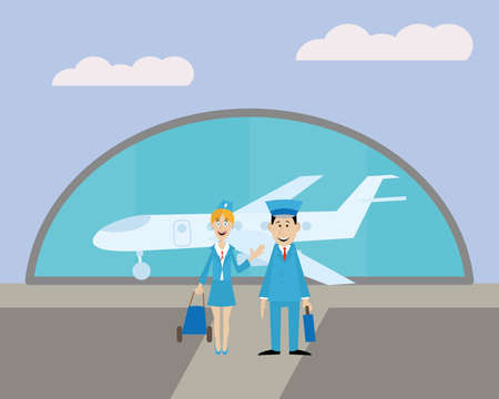 the pilot and the flight attendant at the airport before the flight. Standing on the front of the plane. vector illustration