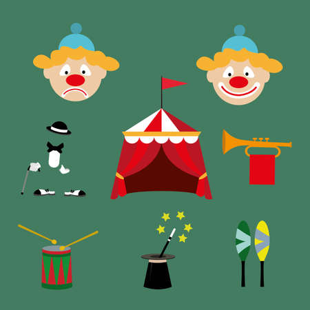 trickster: the attributes of a circus set. vector illustration Illustration