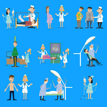 set illustration on the theme of health. examination of patients by doctors. vector illustration Illustration