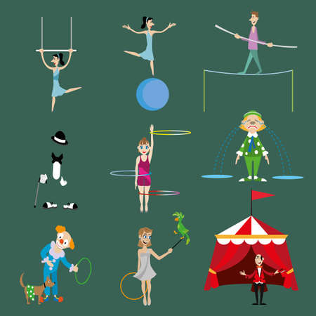set of vector characters of circus performers. Illustration