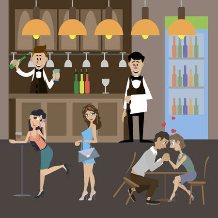 Visitors relax at the bar. The bartender and waiter serving customers. Vector illustration Vektorové ilustrace