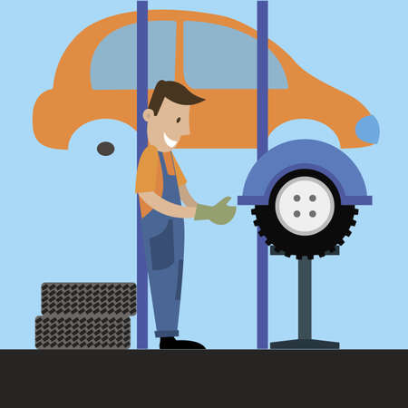 The mechanic produces the balance wheel. vector illustration