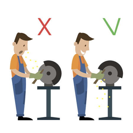 Information poster, health and safety, when working with a grinding machine. cartoon vector illustration