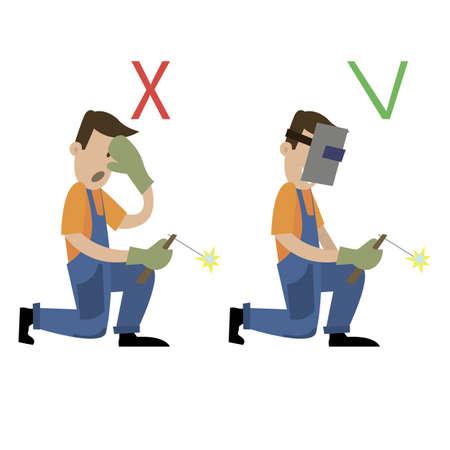 Affiche d'information. la sécurité pendant le fonctionnement de la soudeuse. illustration vectorielle
