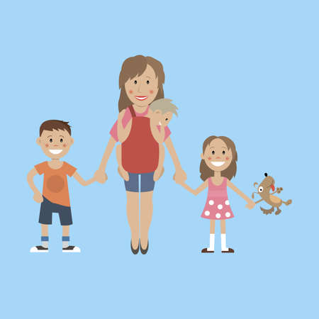 mother and baby: Mom, son, daughter, holding hands Illustration
