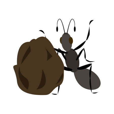 the ant and the big ball of dung. vector illustration flat style