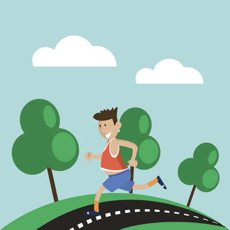 fat man running to lose weight in the Park. vector illustration flat style