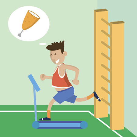 Man running on a treadmill thinking about food. The choice between sports and food. Vector illustration