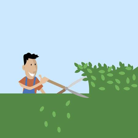 정원사는 가위로 나무를 자른다. 일러스트