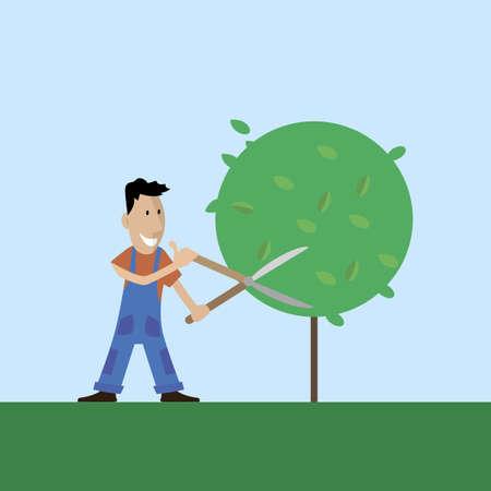 행복 한 정원사는 나무의 secateurs 분기를 잘라냅니다. 벡터 일러스트 레이 션 플랫 스타일 일러스트