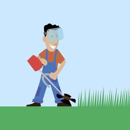 A worker cuts the grass in the garden. Vector illustration.