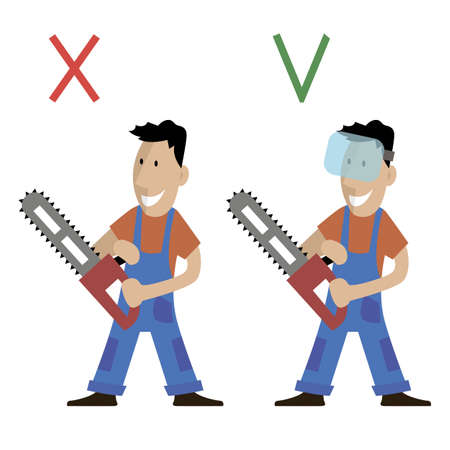 cutter: a logger holding a chainsaw in his hands. poster safety work. man in protective glasses. vector illustration Stock Photo