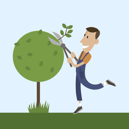 prune: Young gardener is going to trim branches of a tree with pruner. man working in the garden. Vector flat design illustration