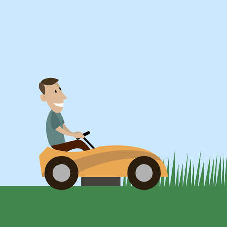 grass blades: Cartoon man on a lawnmower. vector illustration flat style Stock Photo