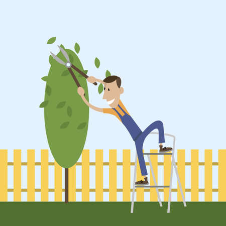 The young gardener is going to cut a tree branch with pruning shears. the people working in the garden on the stairs . Flat design vector illustration. cartoon Banco de Imagens