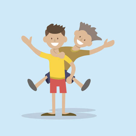 piggyback ride: The boy rides a friend. A strong male friendship. vector illustration Illustration