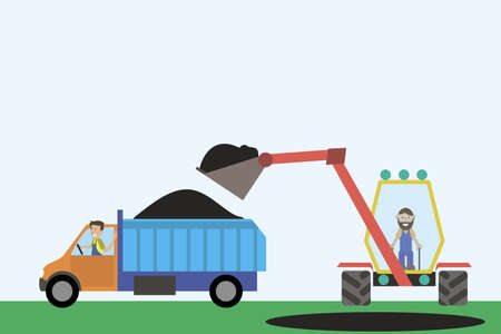 Vector image. Mining of minerals of gold, iron, diamonds. Loading the truck with earth.