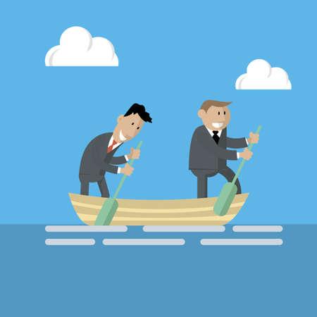 Vector de dos hombres de negocios en un barco, trabajo en un equipo. La búsqueda del éxito