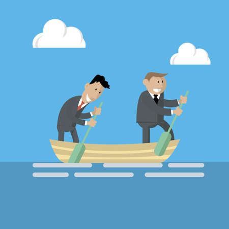 logica: Vector of two businessmen in one boat, work in one team. The pursuit of success