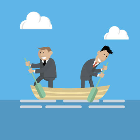 Entrepreneurs in a boat rowing in the opposite direction from each other. vector illustration