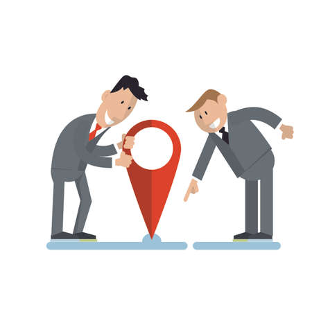 businessmen put a label on a map