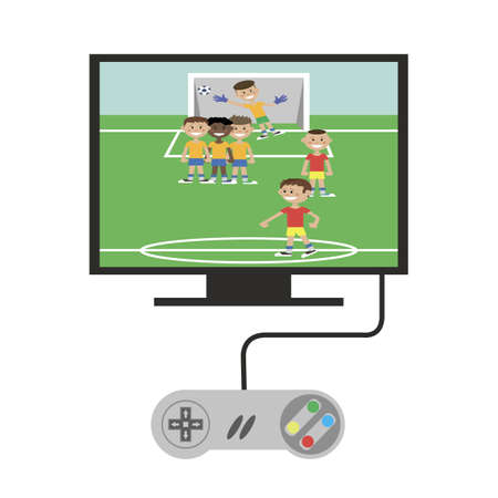 game console connected to the TV. to play football. vector illustration