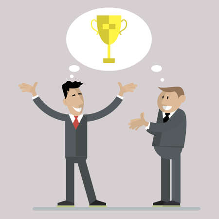 Businessmen are happy to win the trophy. vector illustration