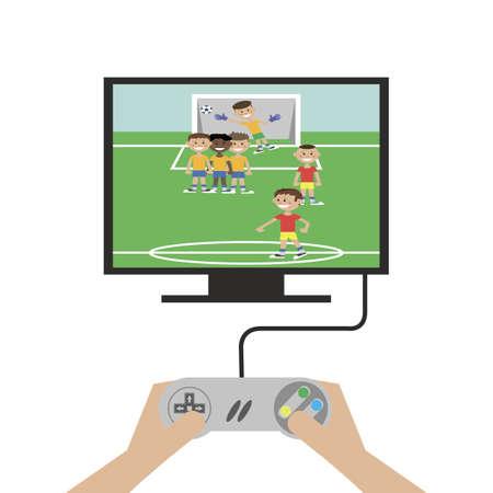 Videoconsola Conectada Al Televisor Jugar Al Fut Bol Ilustracion