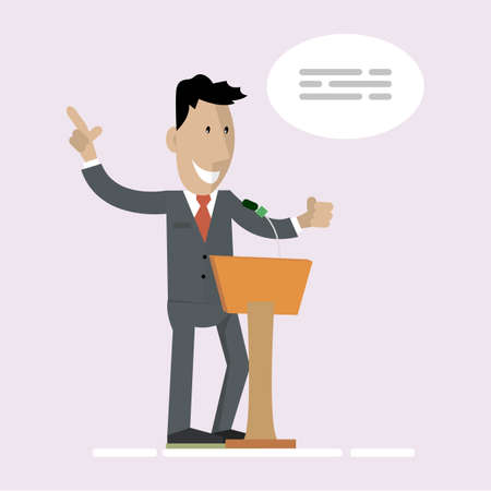 Speaker. The latest news, a press conference, the media, journalism, the concept of interview. Vector illustration. Flat cartoon design