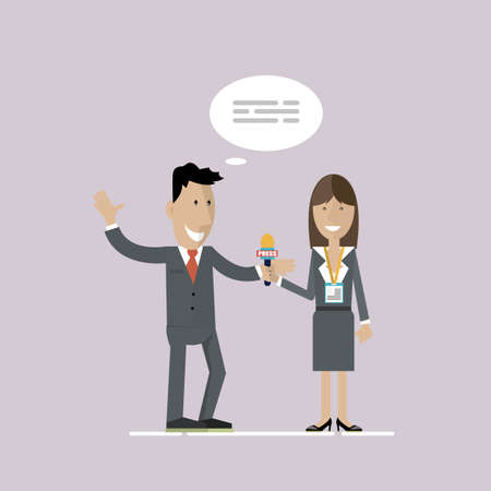 The concept of the press conference. Communication and live dialogue, interviews, questions, media. A girl journalist interviews a company employee. Vector illustration. Stock Photo