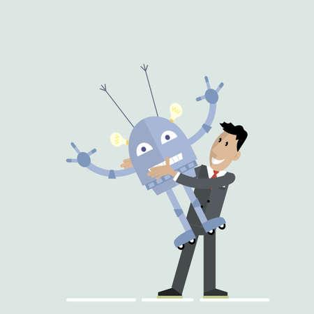 man robot hugs Illustration