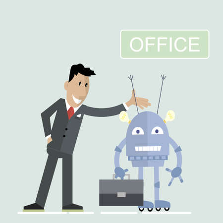 Happy businessman offers a robot to go to the office. The concept of artificial intelligence.