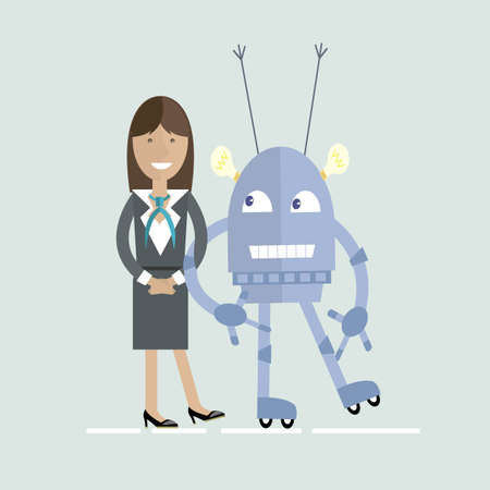 Human and robot characters Vector flat cartoon illustration Illustration