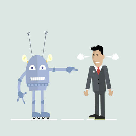 Robot and man in a quarrel illustration.
