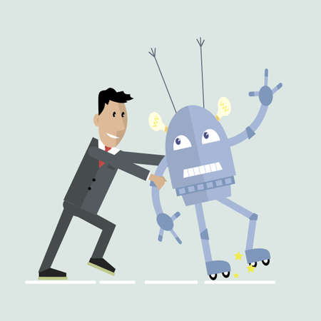 Robot and human competition illustration.
