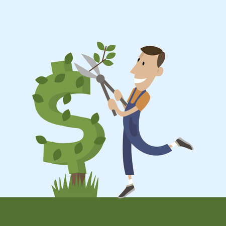 a gardener cuts a bush in the style of a dollar sign. flat vector style.for design