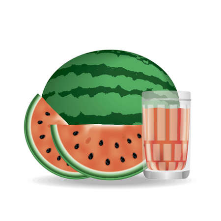 Watermelon juice. Fresh fruits. 3d realism, vector icon for design. Illustration