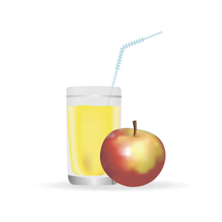 Fresh apple juice in the glass, red apples. Realistic transparent tall glass of juice, vector illustration on white background.