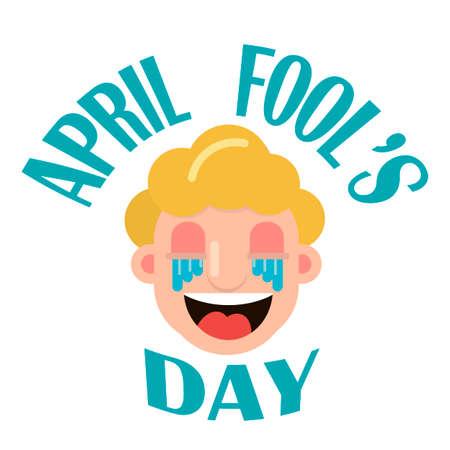 1 April Fool s Day. illustration of a smiling face. Banco de Imagens - 104421907