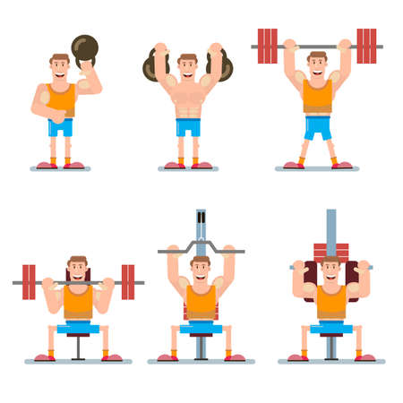 Set of sports character. The person in the gym warms up and does exercises on the simulators, with weights and a barbell. Vector illustration in a flat style