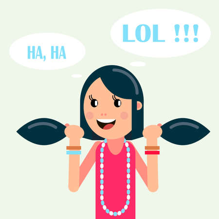 A the girl character is smiling, cheerful mood, joy. Vector illustration in a flat style.