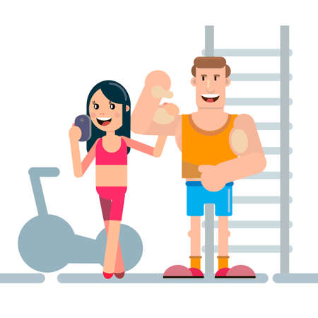 A young girl and a guy are posing in the gym. Doing Selfie. With beautiful bodies. A sample for the gym. Vector illustration.