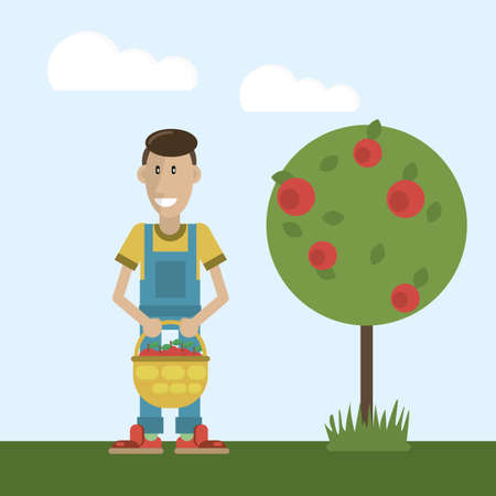 happy smiling farmer, basket with eco-friendly apples. vector clipart flat style
