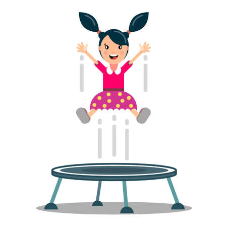 Child jumping on Trampoline In the Park - Vector